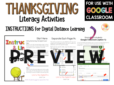 Thanksgiving Literacy Activities PREVIEW