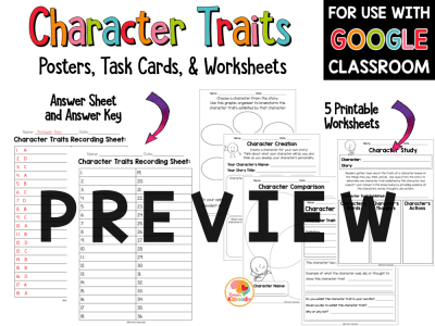 Character Traits Posters, Task Cards, and Worksheets PREVIEW