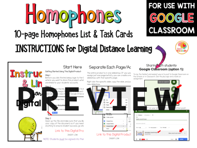Homophones Lists and Task Cards Activities for Primary Grades PREVIEW