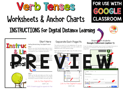Verb Tenses Worksheets and Anchor Charts PREVIEW