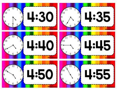 Classroom Schedule Cards and Clocks - Rainbow Theme