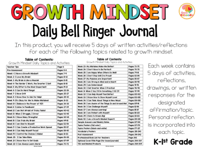 Growth Mindset Bell Ringer Warm-Ups for Kinder and 1st Grade with Digital Option in SEESAW PREVIEW