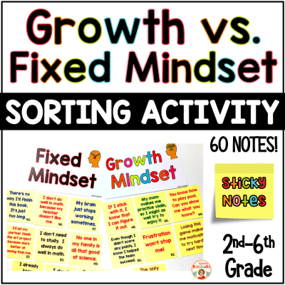 Growth Mindset Sorting Activity Using Sticky Notes