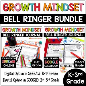 Growth Mindset Bell Ringer Warm-Up BUNDLE for Kinder to 3rd Grade COVER