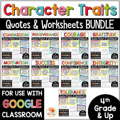 Character Traits Quotes and Activities BUNDLE COVER