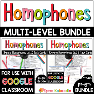Homophones Activities Lists and Task Cards BUNDLE for 1st to 6th Grade COVER