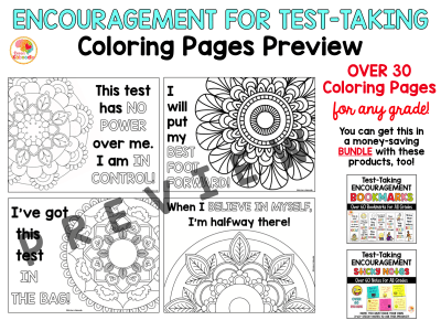Test Taking Encouragement Coloring Pages PREVIEW