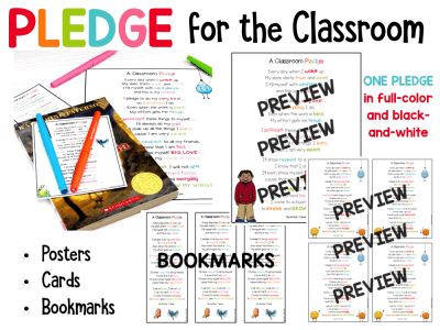Classroom Pledge for Elementary Students: Daily Pledge, Growth Mindset Pledge, and Test-Taking Pledge
