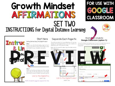 Growth Mindset Affirmations for Primary Grades Set 2 PREVIEW
