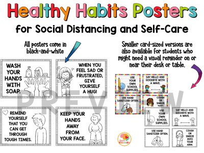 Self-Care and Social Distancing Posters Bulletin Board PREVIEW
