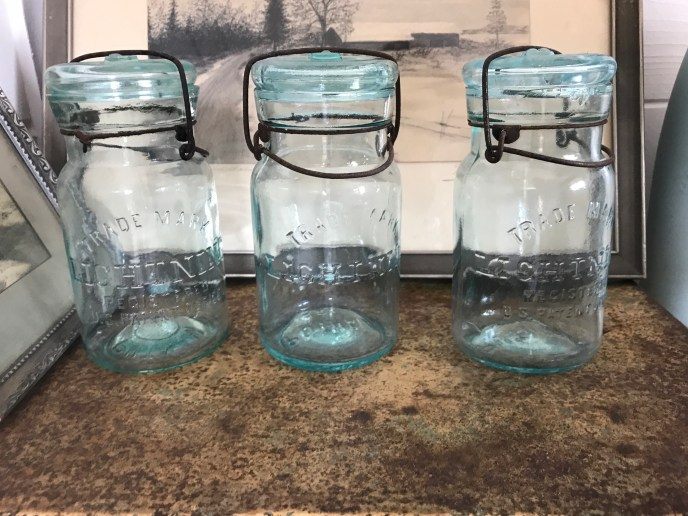 Vintage Lightning canning jars...love the color...