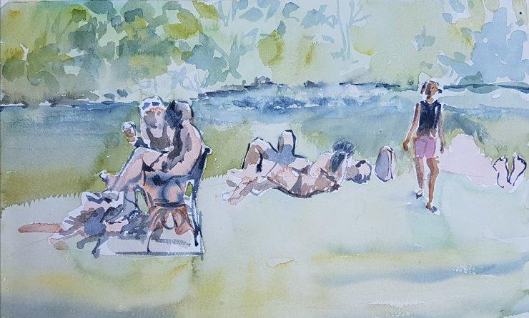 Sunbathing beside the Thames