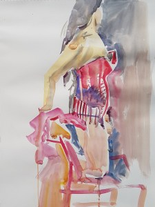 Watercolour of a Burlesque dancer