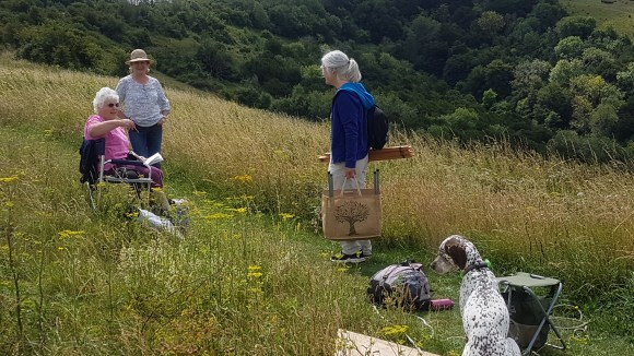 Artists chatting at Old Winchester Hill