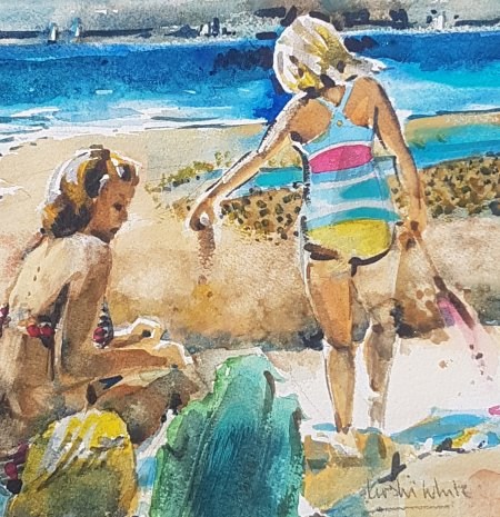 watercolour beach with mother and daughter