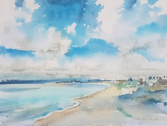 A beach scene in watercolour