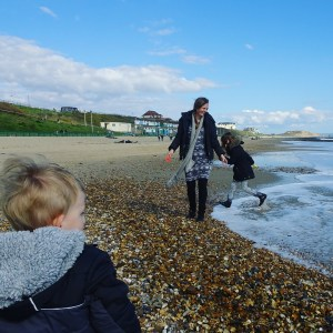 Playing with the kids on Southbourne beach, Bournemouth
