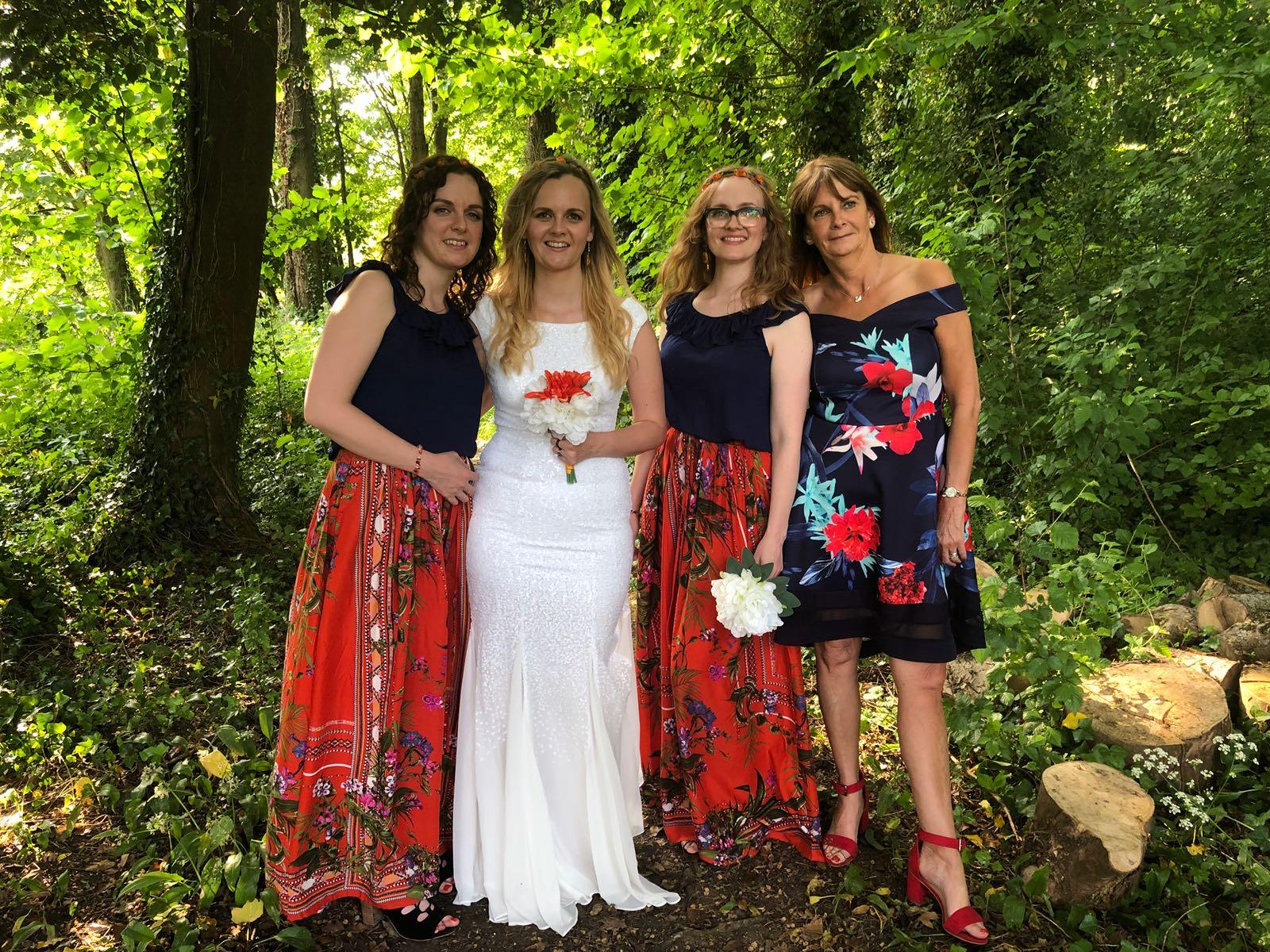boho bridemaids orange and navy blue