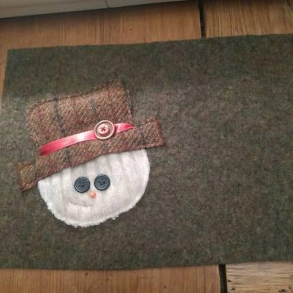 Snowman mug mat - reclaimed sweaters, felted