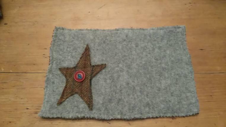 Star mug mat - reclaimed sweaters, felted