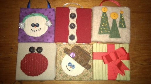 Mini canvas ornaments using reclaimed sweaters and fabric