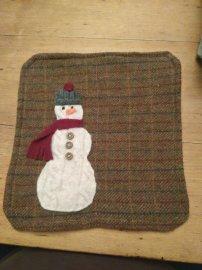 Snowman mug mat - reclaimed sweater, coat lining