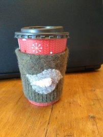 Mug hugger - reclaimed sweater, felted