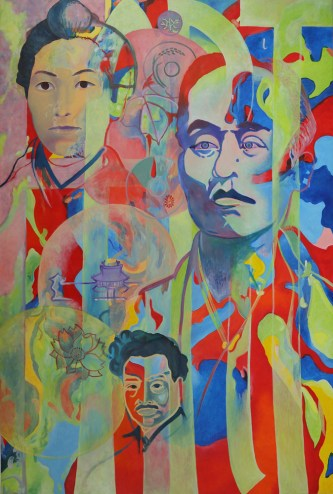 ¥ (Yen). Oil on canvas. 194 x 130 x 3cm.