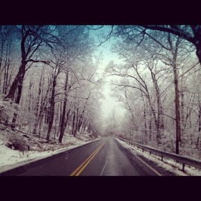Driving over the mountain... I used this pic for my Christmas Cards