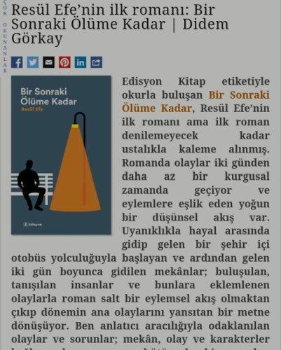 """Edebiyat Haber'de """"Bir Sonraki Ölüme Kadar"""""""