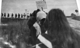 Entire Scattergood Friends School marching 12 miles to Iowa City to protest Vietnam War