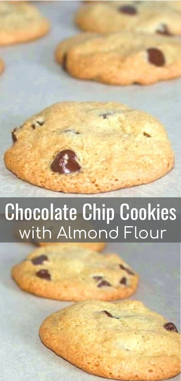 Chocolate Chip Cookies with Almond Flour is an easy cookie recipe for those trying to avoid using gluten containing flour. These chewy chocolate chip cookies are loaded with chocolate chips of your choosing.