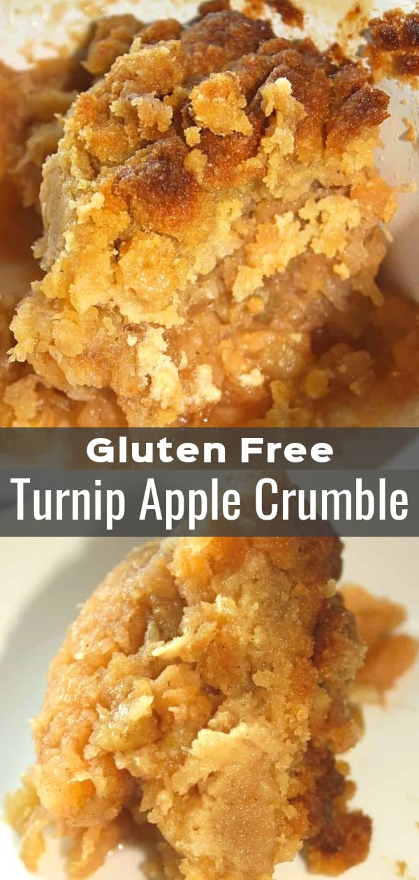 Gluten Free Turnip Apple Crumble is a sweetened vegetable side dish recipe perfect for Thanksgiving and other holiday dinners. This turnip casserole is the perfect mix of savory and sweet.