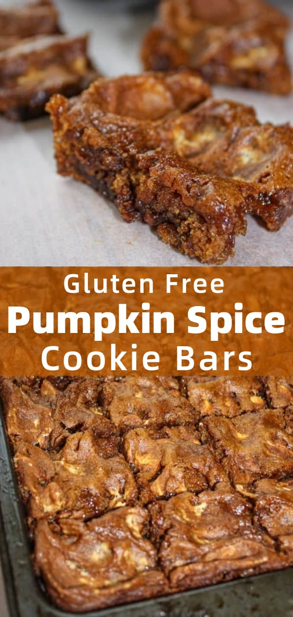 Pumpkin Spice Cookie Bars are an easy and delicious gluten free dessert that is a perfect addition for fall gatherings. These pumpkin spice cookie bars are soft, chewy and loaded with marshmallows and  Skor bits.