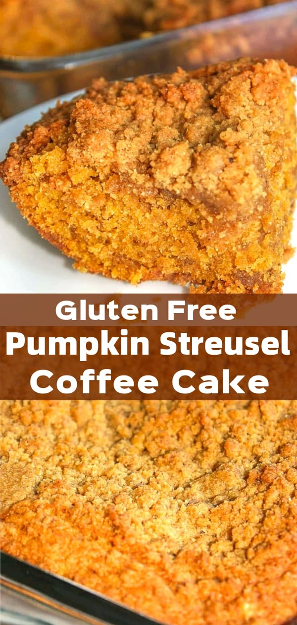 Gluten Free Pumpkin Streusel Cake is an easy dessert recipe perfect for fall. This gluten free cake recipe uses Bob's Red Mill gluten free flour and pumpkin puree.