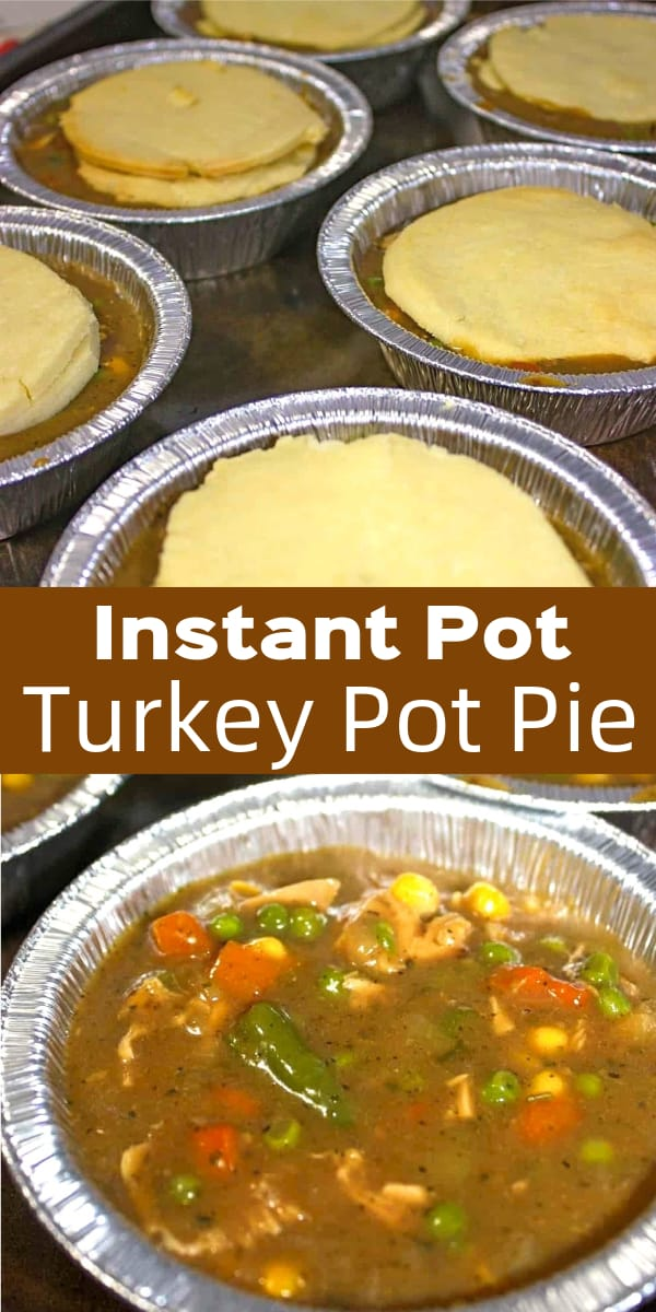 Instant Pot Turkey Pot Pie is a great way to use up Thanksgiving turkey. The filling, loaded with turkey, veggies and gravy, is prepared in the Instant Pot. Gluten free pie crusts are baked in the oven and then placed on top of each turkey pot pie.