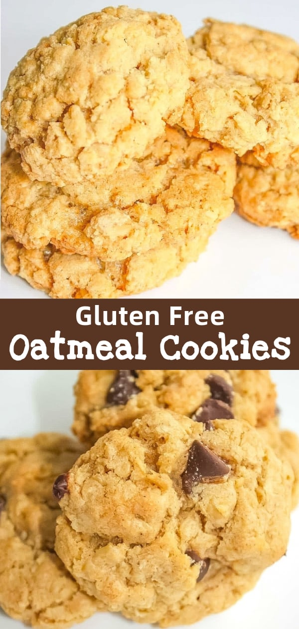 Gluten Free Oatmeal Cookies made with old fashioned oats. This delicious oatmeal cookie recipe can also be used for oatmeal chocolate chip cookies and oatmeal raisin cookies.