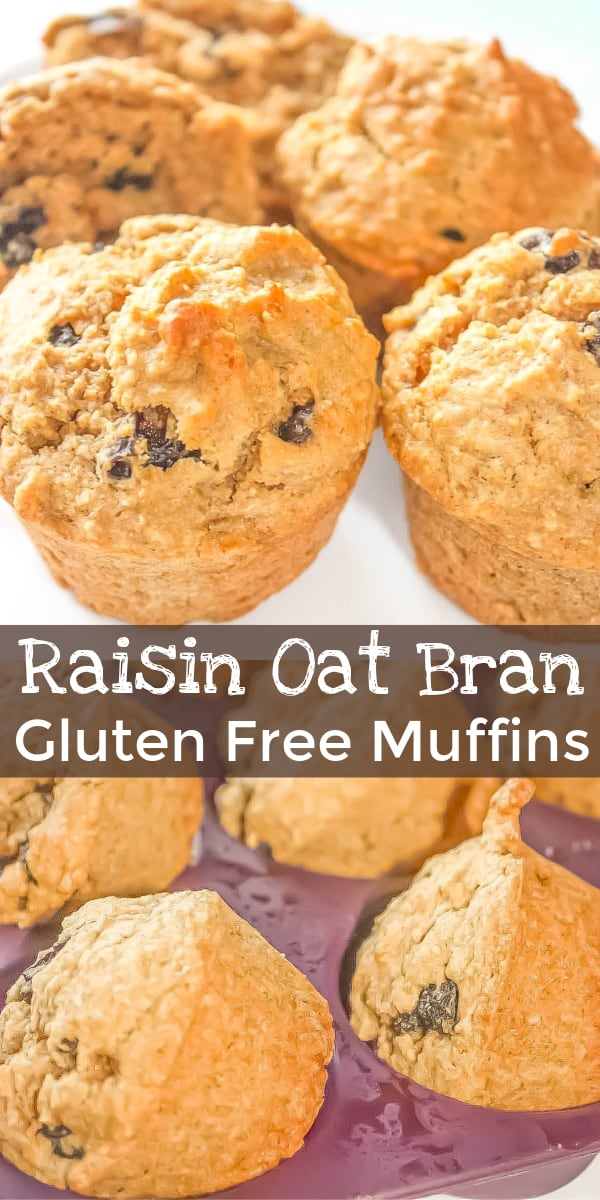 Gluten Free Raisin Oat Bran Muffins are delicious muffins made with Bob's Red Mill gluten free oat bran and loaded with raisins.
