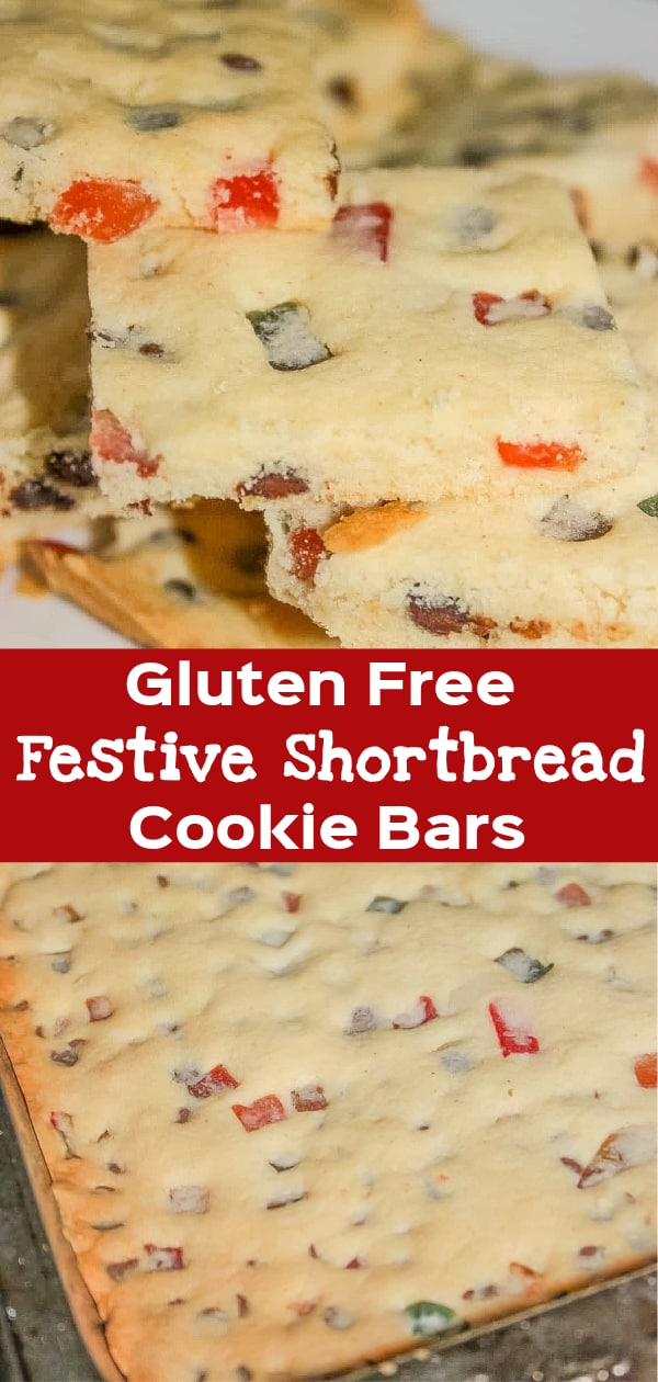 Gluten Free Festive Shortbread Cookie Bars are a tasty Christmas cookie recipe loaded with mini chocolate chips and chopped mixed fruit.