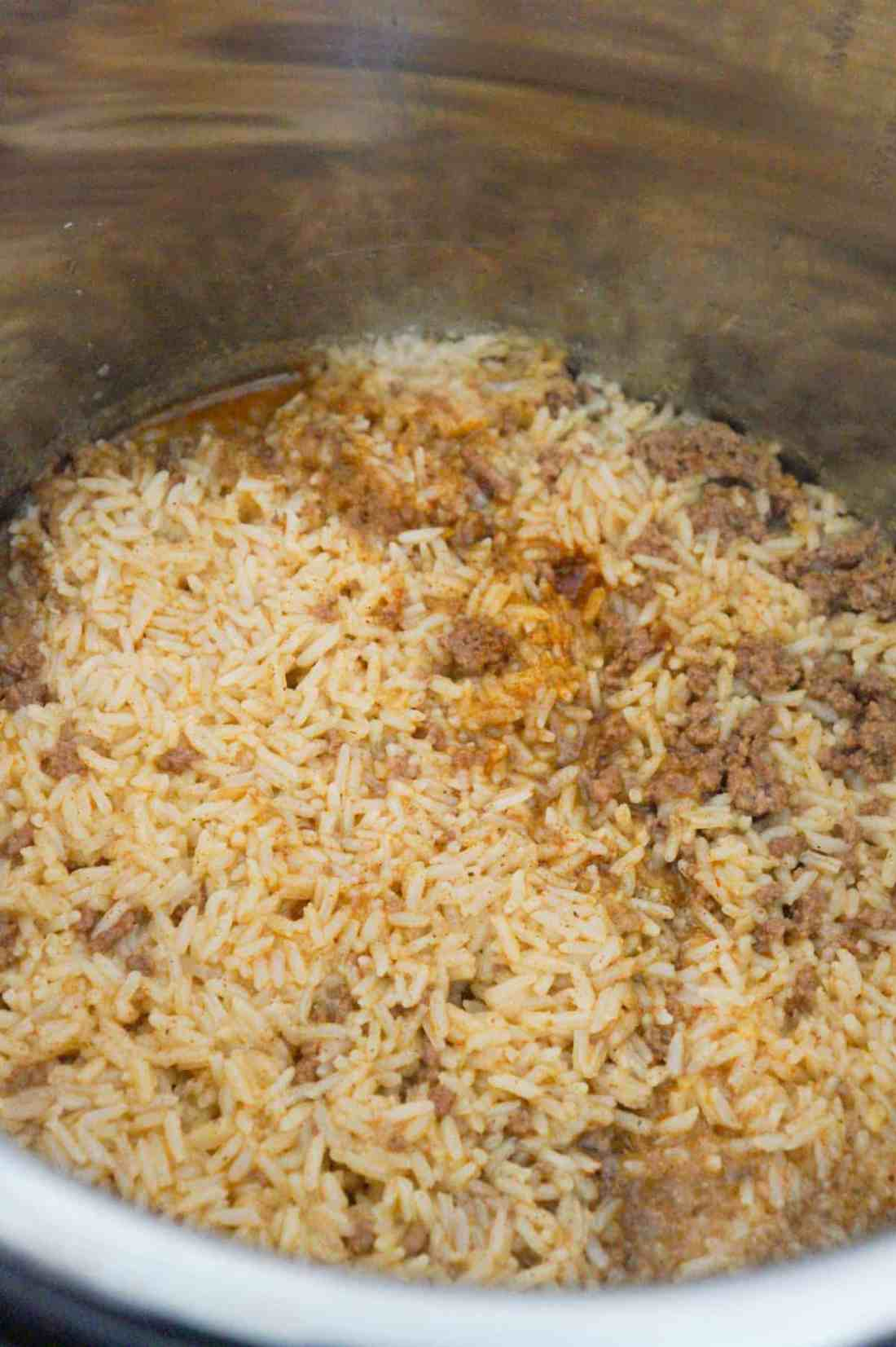 ground beef and rice in an Instant Pot after cooking