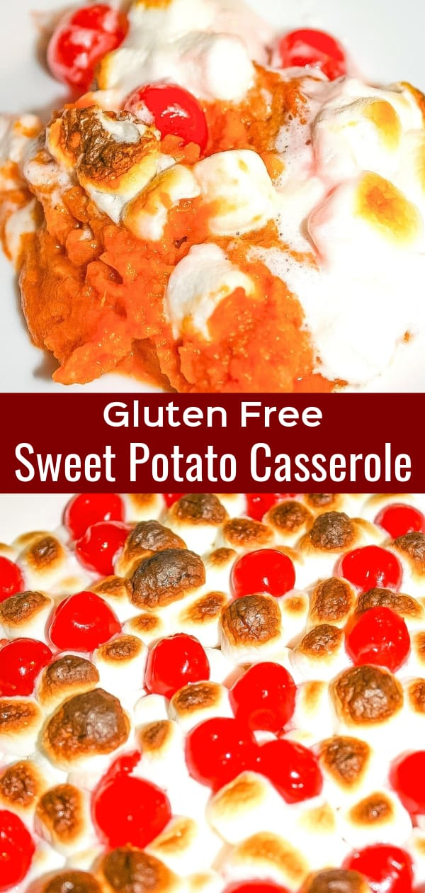 Sweet Potato Casserole is a delicious holiday side dish recipe topped with marshmallows and cherries. This gluten free sweet potato casserole is perfect for Christmas, Thanksgiving or any other time of year.