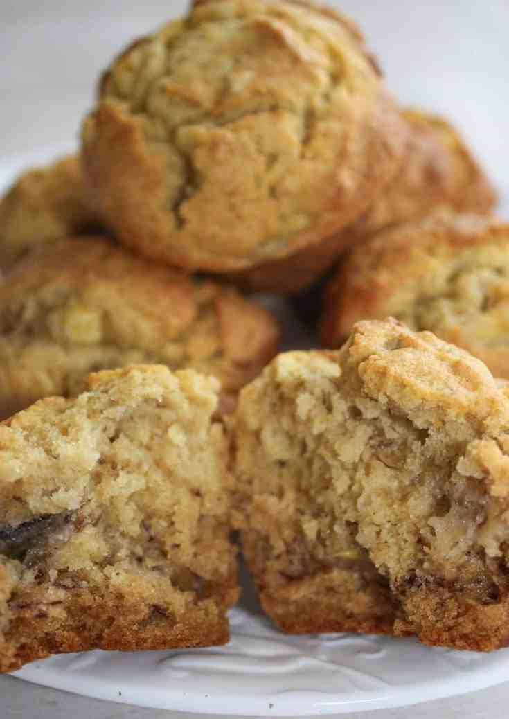 Gluten Free Banana Muffins are a quick and easy recipe to use up those over ripe bananas that seem to appear on everyone's kitchen counter!