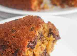 Oatmeal Chocolate Chip Cake is more like a coffee cake or old fashioned snack cake.   The addition of sweet potato in this gluten free version gives added moisture and goodness.