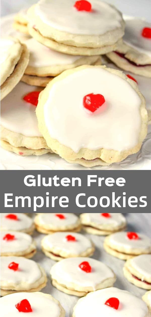 Gluten Free Empire Cookies are delicious jam filled cookies topped with sweet almond icing and cherries.
