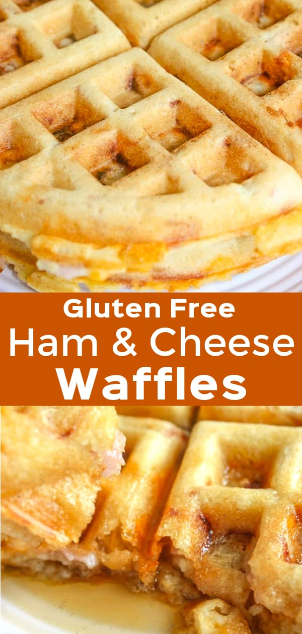 Gluten Free Ham and Cheese Waffles are a delicious breakfast recipe. These savoury waffles are made with Bob's Red Mill gluten free pancake mix and loaded with old cheddar cheese and diced ham.