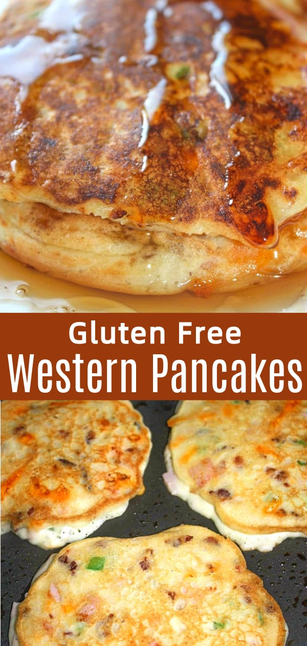 Gluten Free Western Pancakes are a savoury pancake loaded with ham, bacon, onions, green pepper and cheese.