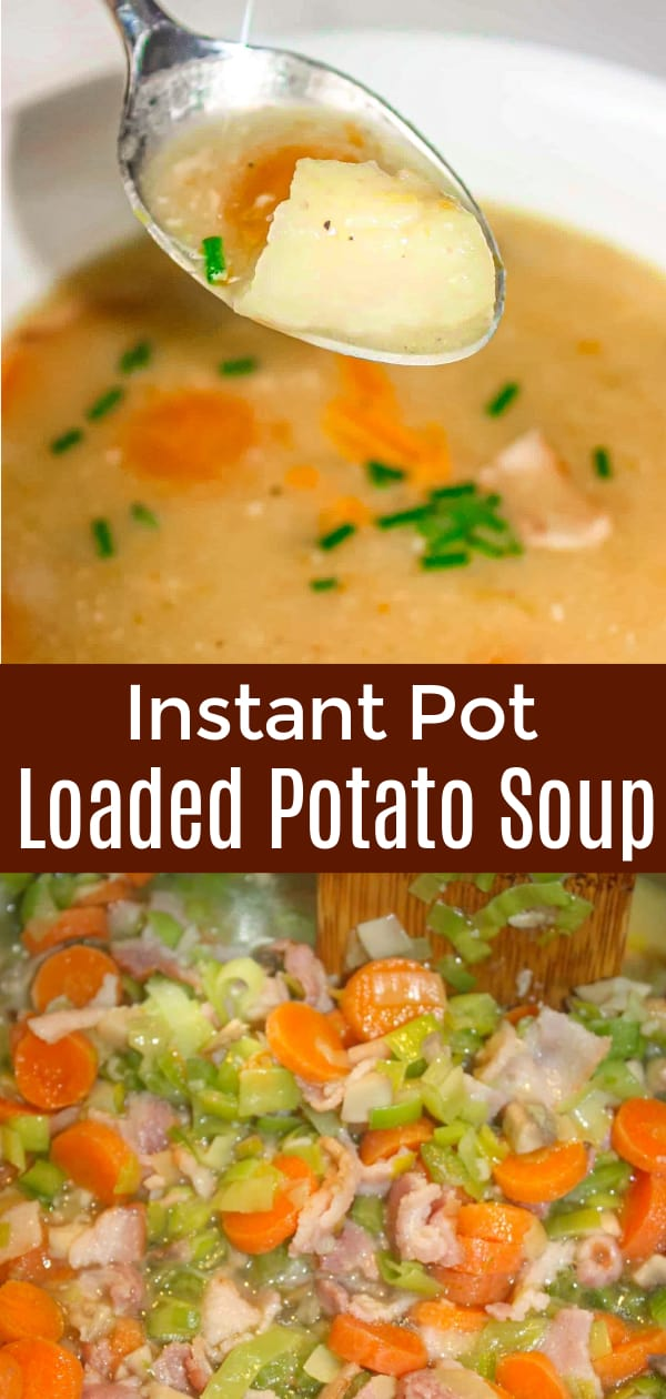 Instant Pot Loaded Potato Soup is a hearty gluten free soup recipe loaded with vegetables and bacon.