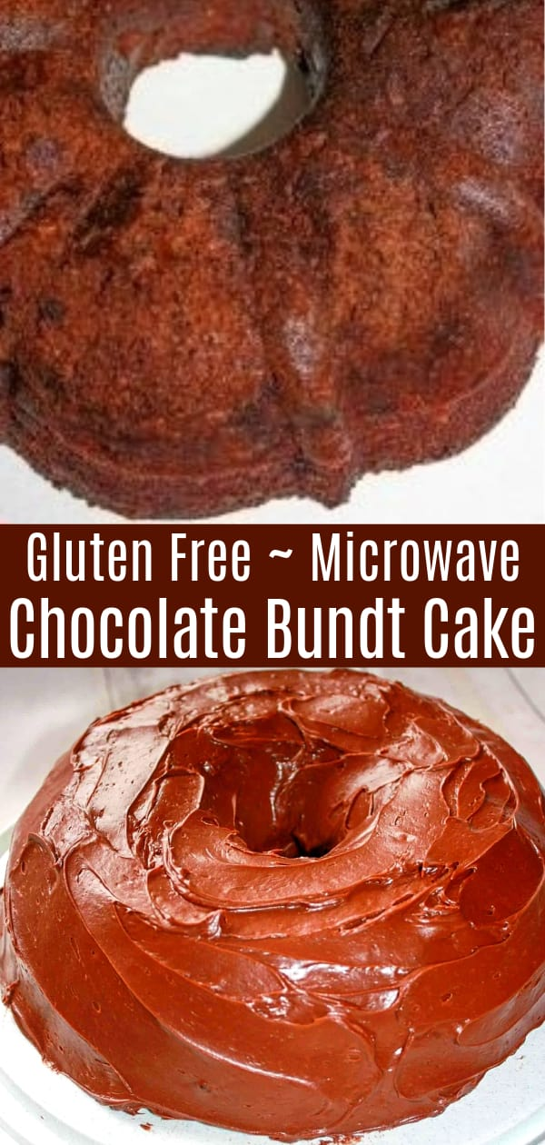 Gluten Free Microwave Chocolate Bundt Cake is an easy and moist gluten free cake recipe. This tasty dessert is made with gluten free cake mix and blueberry pie filling.