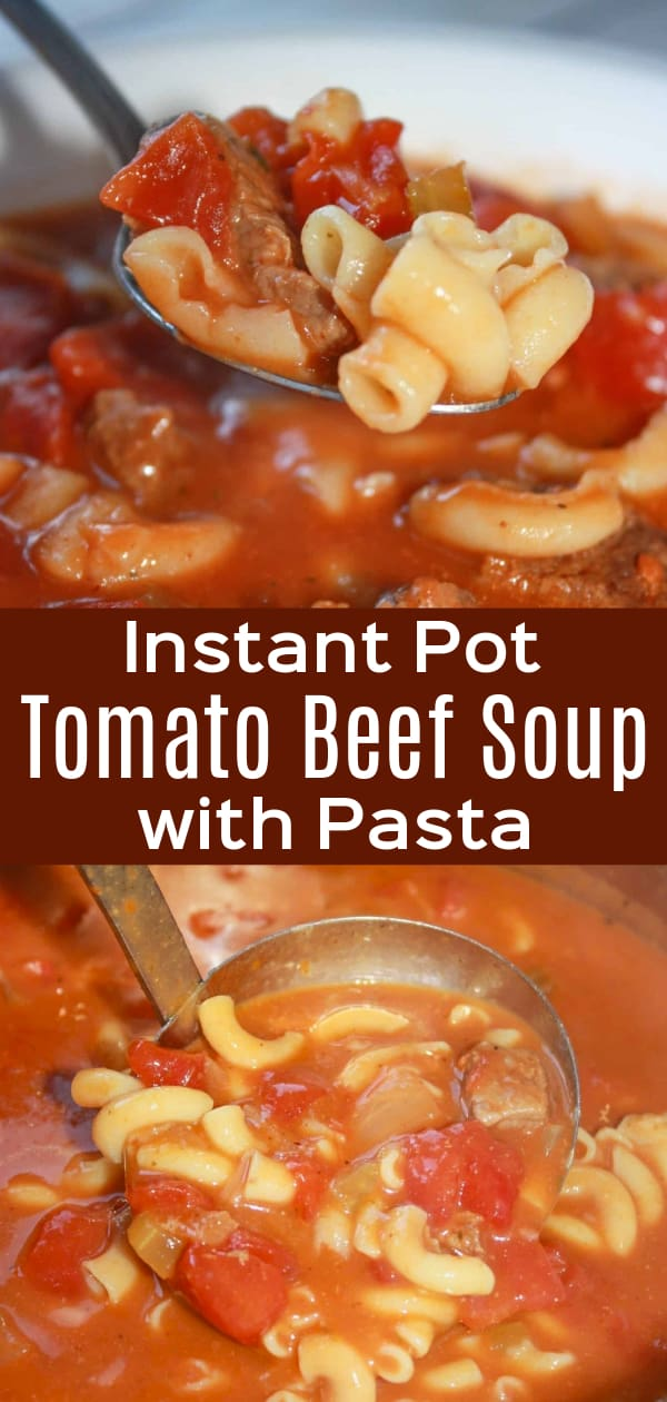 Instant Pot Tomato Beef Soup with Pasta is a hearty gluten free soup recipe. This pressure cooker soup is loaded with stewing beef, diced tomatoes and macaroni noodles.