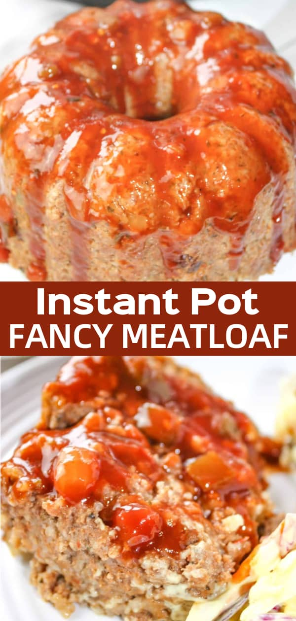Instant Pot Fancy Meatloaf, draped in sauce, will dress up any dinner table.  This gluten free version has a ribbon of spicy cheese through its center that spices it up a bit!